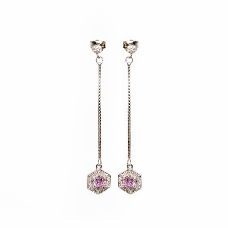 Cercei de argint Pink Tania